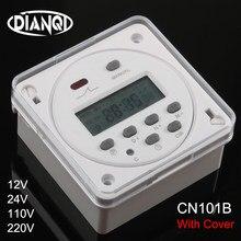 Cn101b ac 12v 24v 110v 220v digital lcd power timer nenhum nc relé de interruptor de tempo programável com capa protetora semanal 7 dias