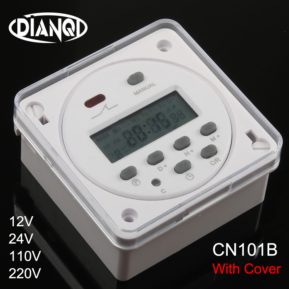 CN101B AC 12V <font><b>24V</b></font> 110V <font><b>220V</b></font> Digital LCD Power Timer NO NC Programmable Time Switch <font><b>Relay</b></font> with protective cover weekly 7days image