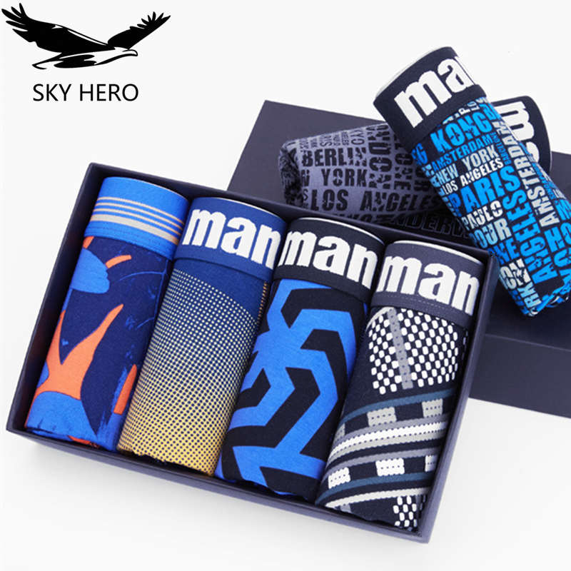 4pcs Male panties cotton men underwear boxer mens underwear boxers cueca underpants shorts for man sexy winter sky print boxers