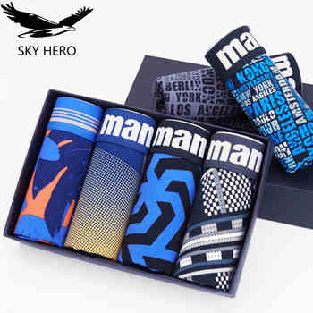 4pcs Male panties cotton mens underwear boxers hombre cueca underpants shorts for man sexy winter print man boxer M-3XL - DISCOUNT ITEM  40% OFF All Category