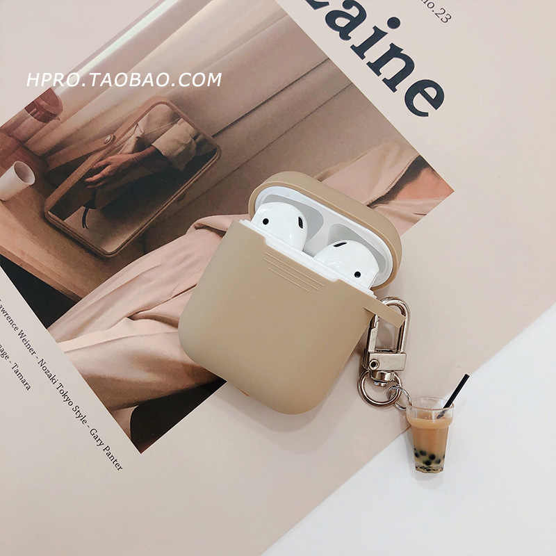 Milk Tea Pendant for AirPods Keychain Protective Cover Silicone Wireless Bluetooth Headset Personality Female Cover Anti-fall