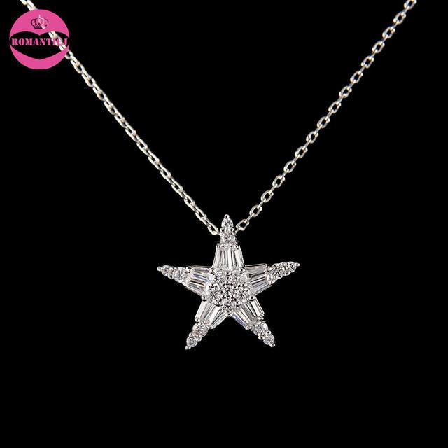 eb3f1ef3c2f3 Romantic nuevo shinning crystal zircon estrella colgante