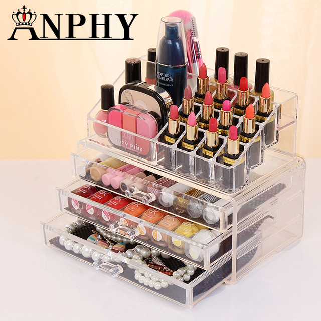 New Clear Acrylic Makeup Storage Case Nail Polish Rack Lipstick Cosmetic Storage  Box Holder Makeup Brush