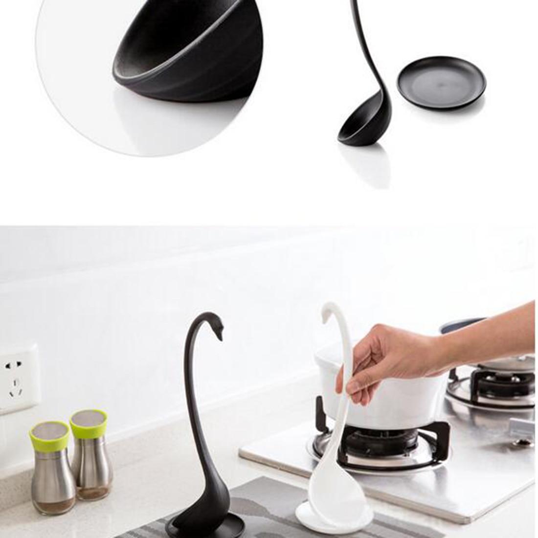 cute kitchen gadgets slim storage innovation utensils creative swan soup spoon with