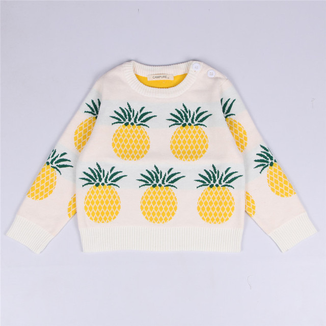 2016 BOBO CHOSES PINEAPPLE  ins autumn and winter child 100% cotton casual pullover knitted sweater cartoon fruits sweaters kids