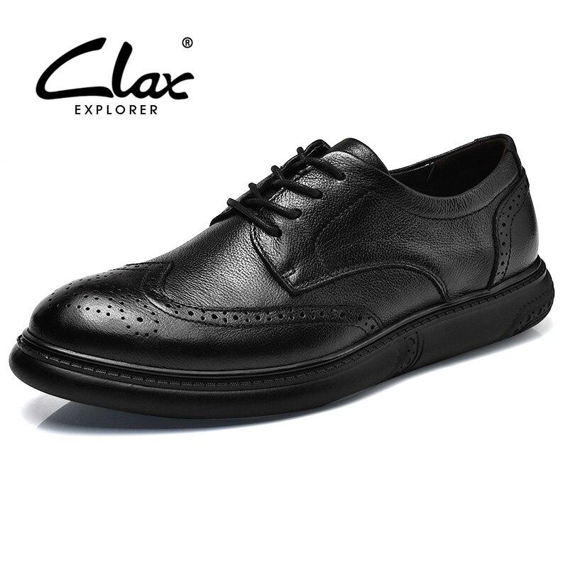 CLAX Men s Brogue Shoes Genuine Leather Spring Autumn Fashion Black Dress Shoe Casual Leisure Shoe