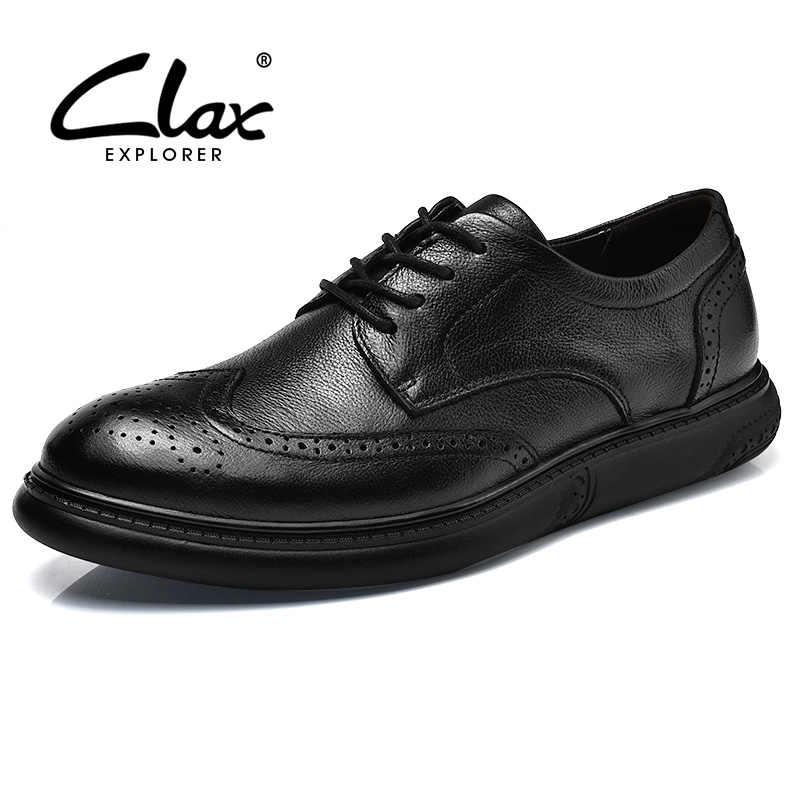 CLAX männer Brogue Schuhe Aus Echtem Leder Frühling Herbst Mode Schwarz Kleid Schuh Casual Freizeit Schuh Männlichen Britischen Schuhe Weiche