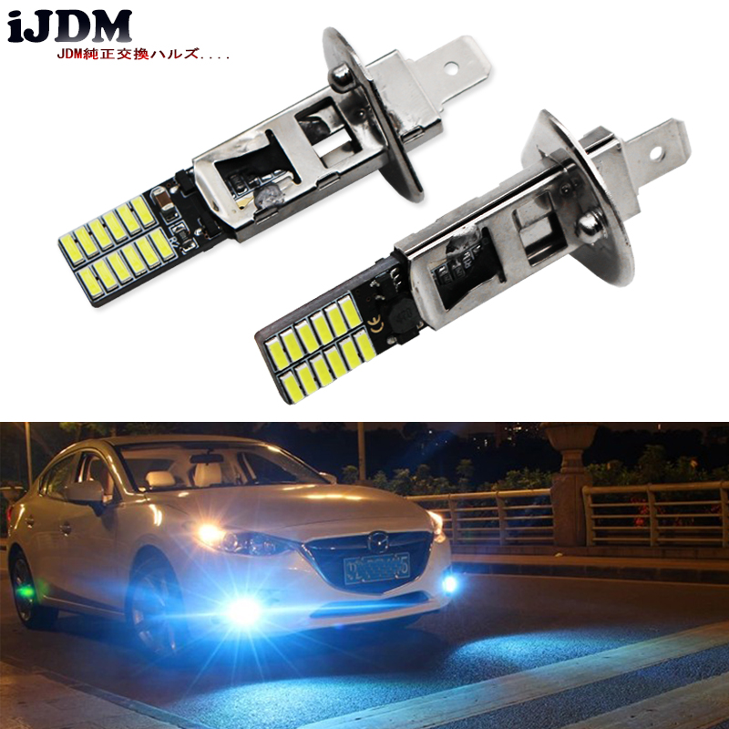 iJDM 10000K Ice Blue 24-SMD-4014 H1 LED Replacement Bulbs For Car Fog Lights, Daytime Running Lights, DRL Lamps,car led light icoco 3 led waterproof car light universal daytime running lights dc12v super white auto car fog lamps car styling