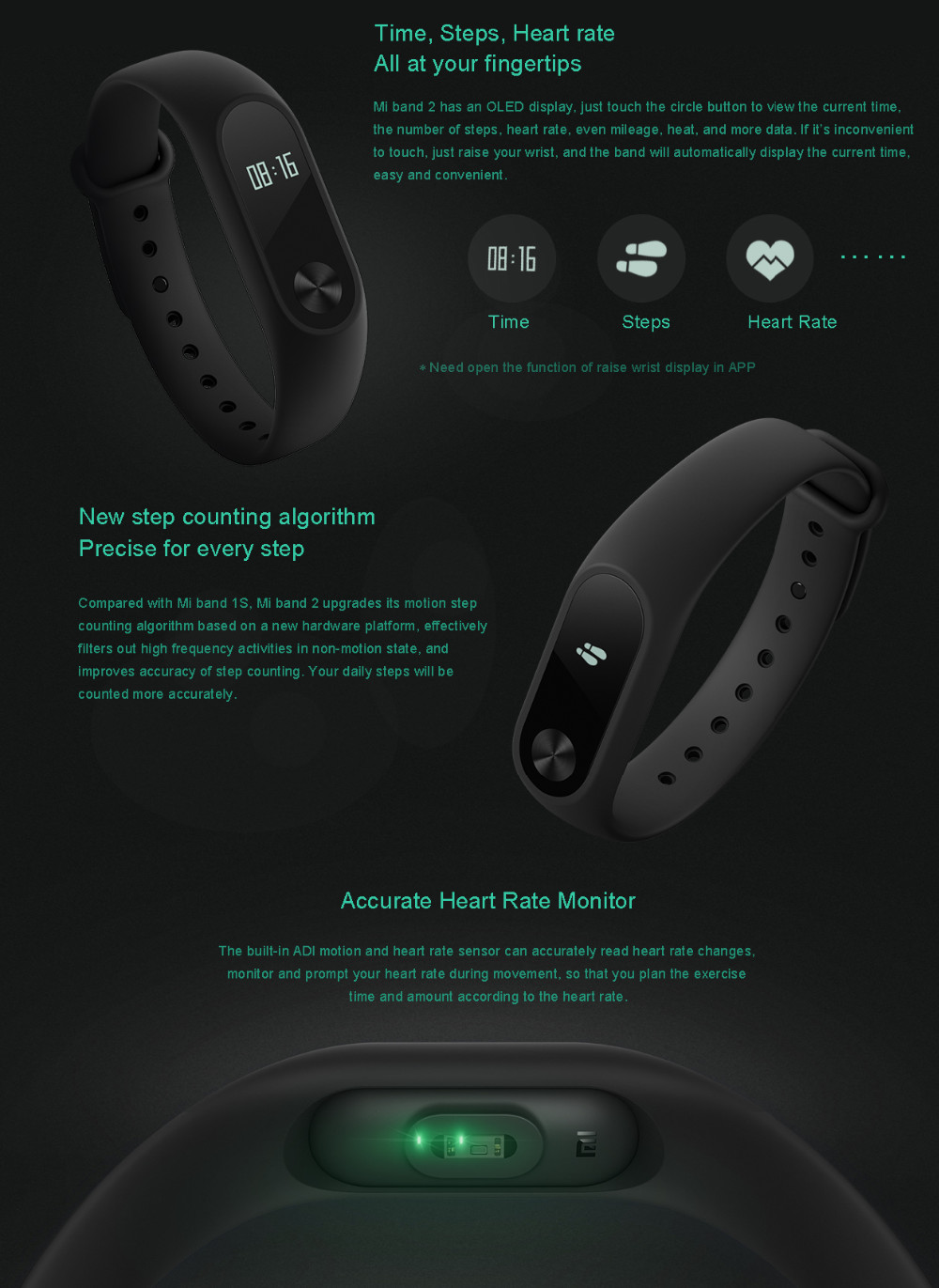 Xiaomi Mi Band 2 Fit Replacement Smart MI Band 2 Touchpad Screen Heart Rate Monitor Pedometer Wristband IP67 FitnessTracker 15