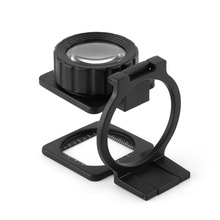 Portable Foldable15X Magnifier Stand Magnifying Glass Lens Loupe Measure Scale 0 05mm 10mm division antireflection film lens magnifier flat field achromatic magnifying glass loupe with micrometer scale 30x