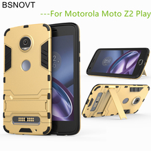 BSNOVT sFor Moto Z2 Play Cover Silicone + Plastic Kickstand Case For Moto Z2 Play Case For Motorola Moto Z2 Play Fundas 5.5 for motorola moto z2 play phone bag case for moto z2 play luxury crocodile skin pu leather protective case cover moto z 2 play