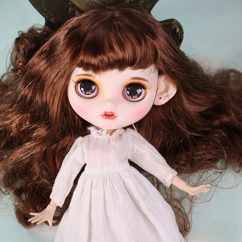 ICY blyth doll matte face white skin cute brown curly hair suit doll with teeth lips