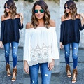 2017 Plus Size Women Clothing Slash Neck Autumn Women T-shirt Casual Loose Off shoulder Large Size Hollow Out Lace sleeves Tops