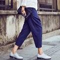 Spring Summer Casual Women Harem Pants Capris Trousers Fashion Slim Black Loose Cotton Pleated Harem Pants Capris Plus Size XXL