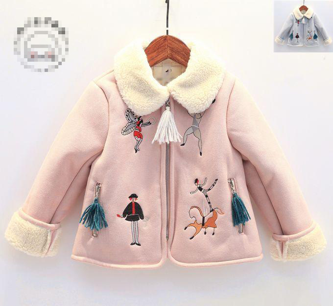 autumn winter 2016 girl coat kids turn down light blue pink cartoon printed long sleeve fleece thick jacket baby warm clothes