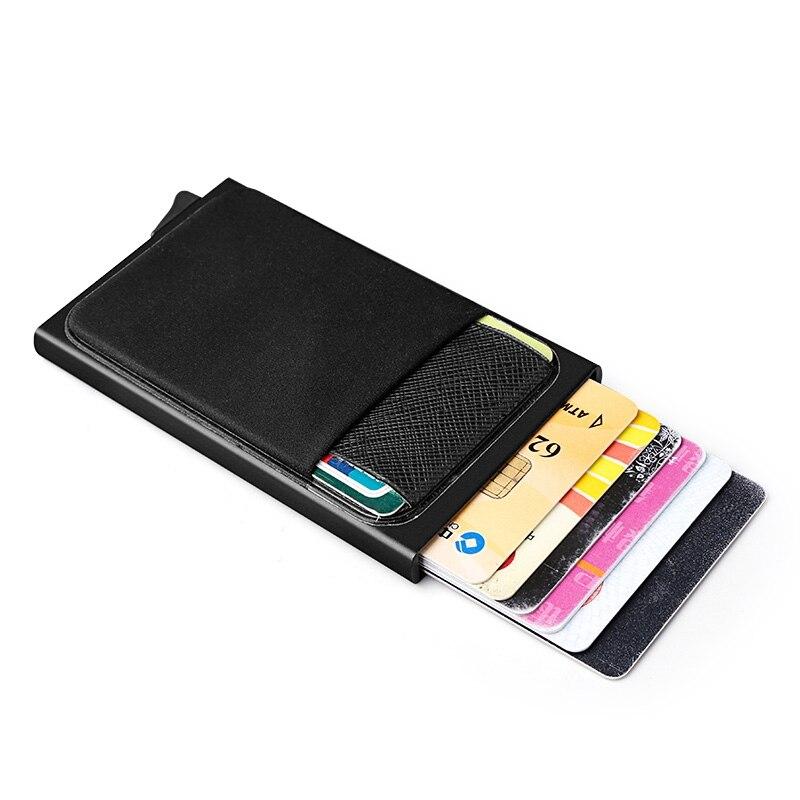 Hombres de cartera de aluminio con bolsillo titular de la tarjeta de identificación RFID bloqueo Mini Slim cartera Metal automático Pop up tarjeta de crédito moneda Pur