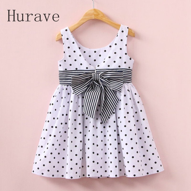 Hurave Girls polka dot dress printed children summer kids clothing  Infantil dress bow with striped fashion clothes 2016 fashion summer rare editios for girls cute clothing outfits kids short sleeve bow cotton polka dot dress with pants suit