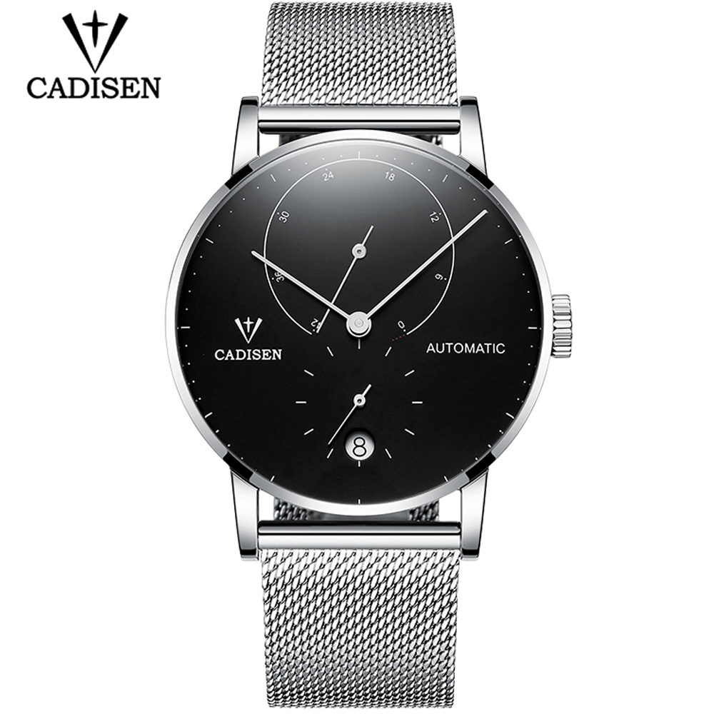 цены CADISEN Mens Watches Top Brand Luxury Automatic Date Men Casual Fashion Clock Waterproof Genuine Leather Mechanical Wrist Watch