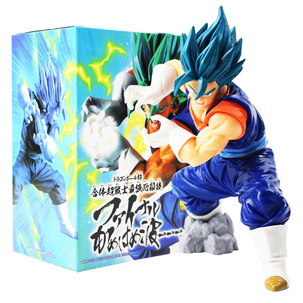 18 cm Dragonball Dragon Ball Z Vegeta Super Saiyan Deus Kamehameha Cabelo Azul Estatueta PVC Action Figure Collectible Modelo Boneca brinquedo