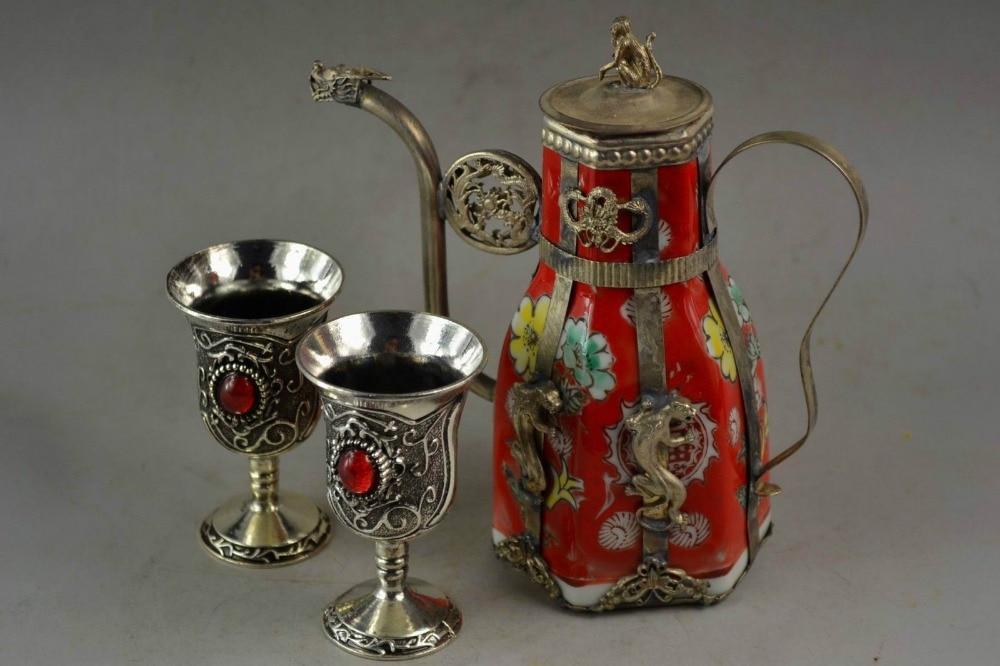 Decorated Hand <font><b>Porcelain</b></font> Miao Silver Carve Leopard <font><b>Flower</b></font> Rare Tea <font><b>Pot</b></font> <font><b>Cup</b></font> /2