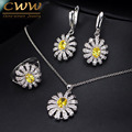3 pcs Cubic Zirconia Necklace Earring Ring Set Fashion 925 Sterling Silver Flower Jewelry Sets For Ladies  T281