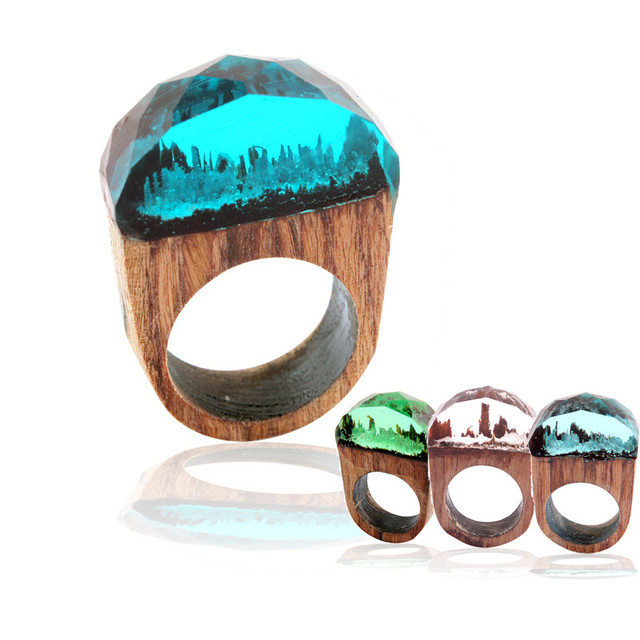 geekoplanet.com - Handmade Fantasy Landscape Wood Resin Ring