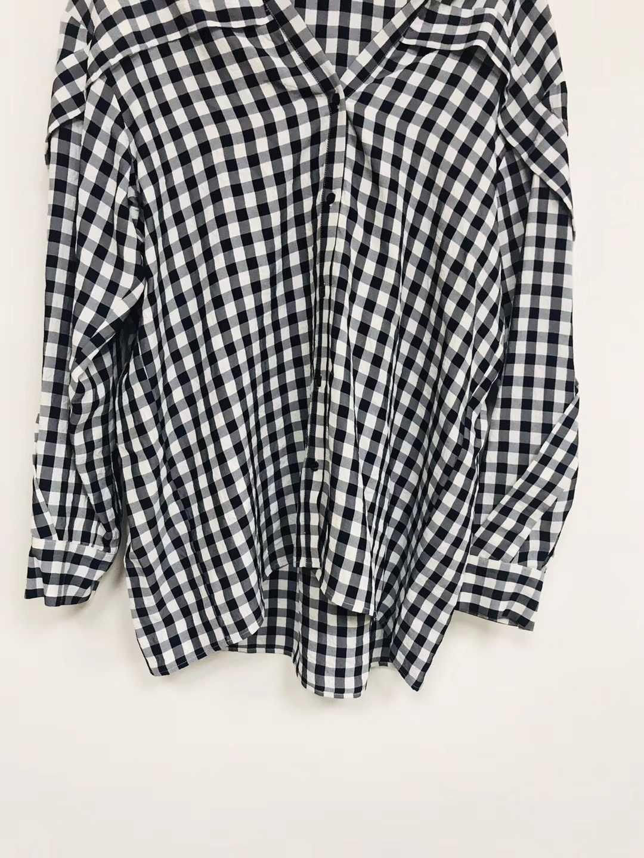 2019 nouveau noir et blanc plaid goutte épaule manches dentelle blouse décorative - 4