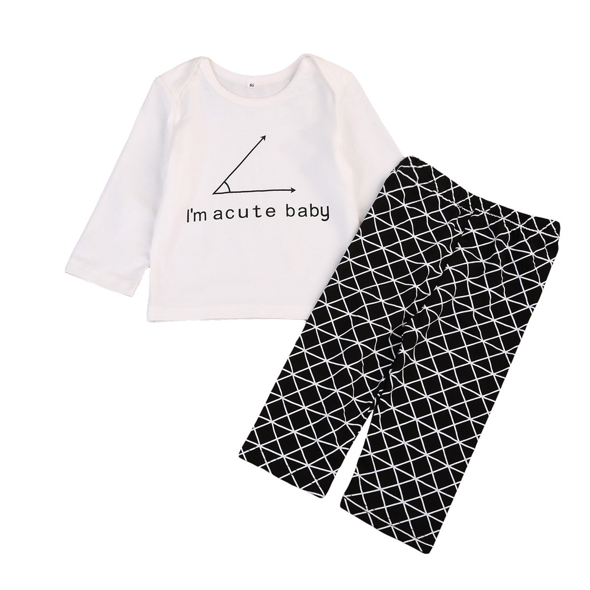 Cute Newborn Baby Boy Clothes Set 2017 New Long Sleeve Pullover T-shirt Tops+Geometric Pants 2pcs Outfits Clothes Set 2018 spring newborn baby boy clothes gentleman baby boy long sleeved plaid shirt vest pants boy outfits shirt pants set