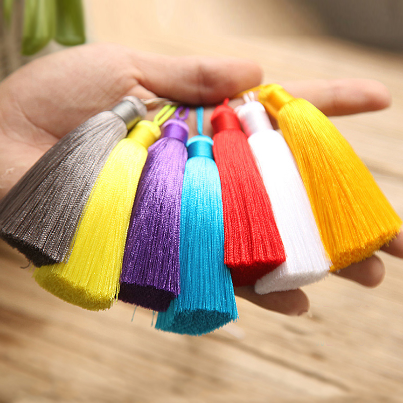 8cm Long Multicolor Cotton Silk Tassel Brush For Earring Charm Pendant Satin Tassels Diy Jewelry Making Findings Customizable