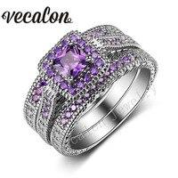 Vecalon античный кольцо Принцесса Cut Фиолетовый 5A Циркон 10kt Белое золото заполнено 3 в 1 обручальное кольцо набор для Для женщин подарок