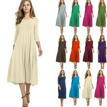Women Long Sleeve Shirt Long Maxi Dress Casual Flared Swing Skater Knee-length Dress black swing long sleeve dress