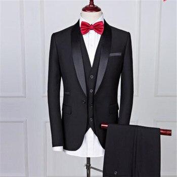 Casual men's dress groom tuxedo men's suit single button men's clothing set three-piece suit (coat + pants + vest)