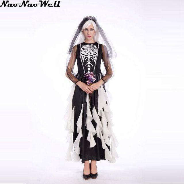 Новый взрослых Хэллоуин призрак невесты Ролевой костюм страшно дьявол ведьма Череп Скелет боди костюм Для женщин Платье для косплея