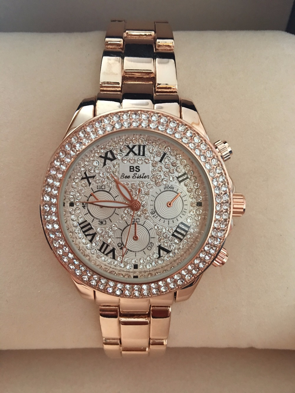 2017 Nye High Quality Luksus Crystal Diamond ure Kvinder Gold Watch - Dameure - Foto 3
