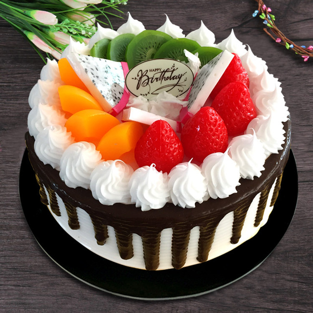 15cm Diameter Simulation Cake Fruit Cream Birthday Model European Flowers Decoration
