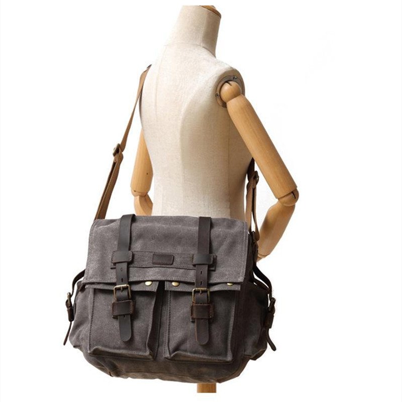 YUPINXUAN Pure Cotton Canvas and Cow Leather Retro Shoulder Bags for Men Vintage Messenger Bag Large Capacity Canvas Camera Bags-in Crossbody Bags from Luggage & Bags    2