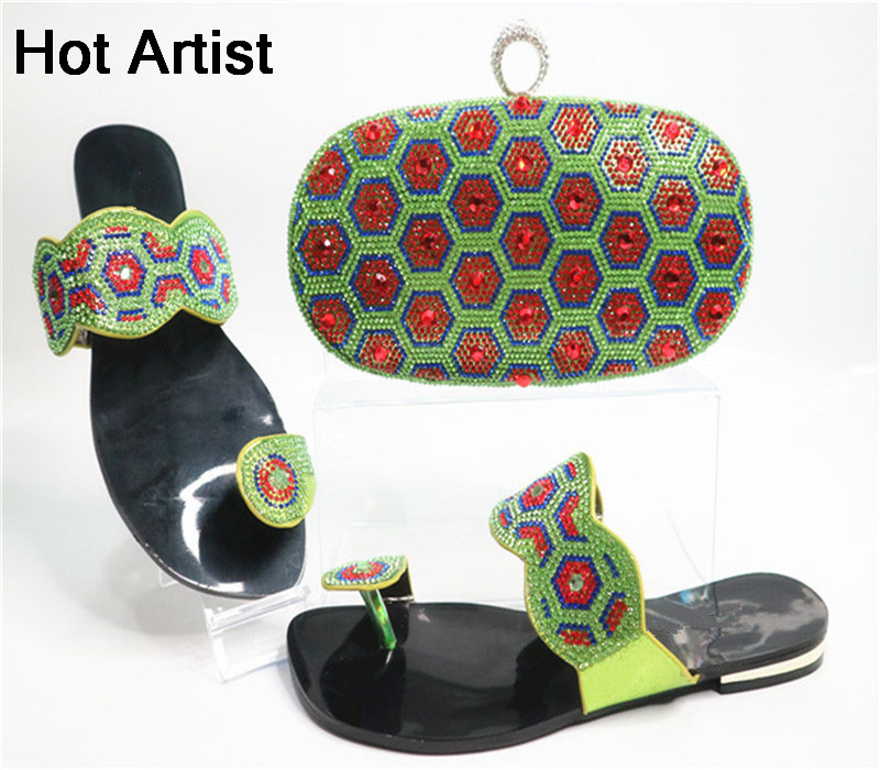 Hot Artist New Summer Style Rhinestone Woman Shoes And Bag Set Africa Elegant Low Heels Shoes And Matching Bag Set For Dress G21 hot artist new design summer style shoes and bag set african women shoes and matching bag set for wedding size 38 42 me7709