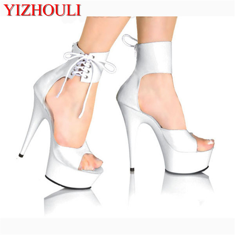 Elegant Ankle Strap 15CM High Heel Slippers Platforms Pole Dance shoes white 6 inch women fashion
