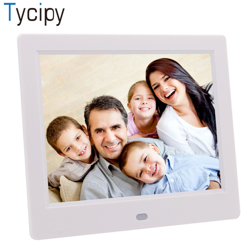 Tycipy 8 Photo Frame Digital LED Camera Screen Electronic HD Photo Frame for Music Mp3 Video Mp4 Calendar with Remote Control