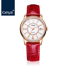 Geya Newest Watch Women Mechanical Automatic Hollow Wristwatch Red Real Leather Waterproof Fashion Ladies Watches Montres Femmes