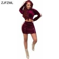 ZJFZML 2018 New Style Brand Fashion Velvet 2 Piece Dress Women Purple Full Sleeve Hooded Dress