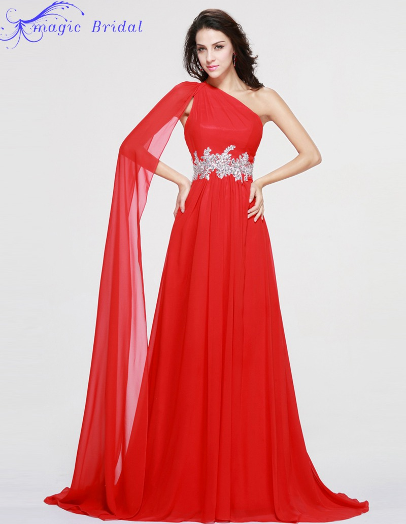 Largos Vestidos Para Bodas Nuevas Llegadas de Un Hombro Rojo Vestido de Noche Largo Formal Vestidos