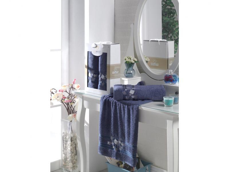 Towel set TWO DOLPHINS, Class Cotton, 2 subject, Blue two tone handle eye brush set 3pcs