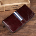 2016 New Cow Genuine Leather Long Style Men Wallets Men Vintage Male Purse Travel Wallet Carteira Masculina Free Shipping