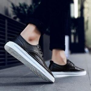 Image 4 - Ademend Schoenen Lace Up Comfortabele Naaien Mode Echt Lederen Sneakers Casual Schoenen Zapatillas Hombre Dropshipping L4