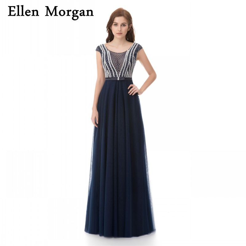 Navy Blue Long   Prom     Dresses   2019 Sexy Cap Sleeve Floor Length Luxury Crystal Vestido De Festa Runway Fashion for Pageant Women
