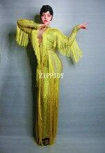 Shining สีเหลือง Fringes Rhinestones ชุดราตรีชุดราตรียาวเซ็กซี่ชุดพรหมวันเกิดฉลองยืดพู่ชุด