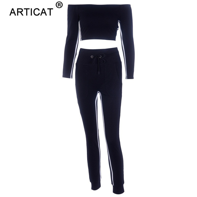 Articat Off Shoulder Sexy Crop Top Women Tracksuit Two Piece Side Stripe Short Autumn Tops Long Pants Casual Fitness Sportswear 5