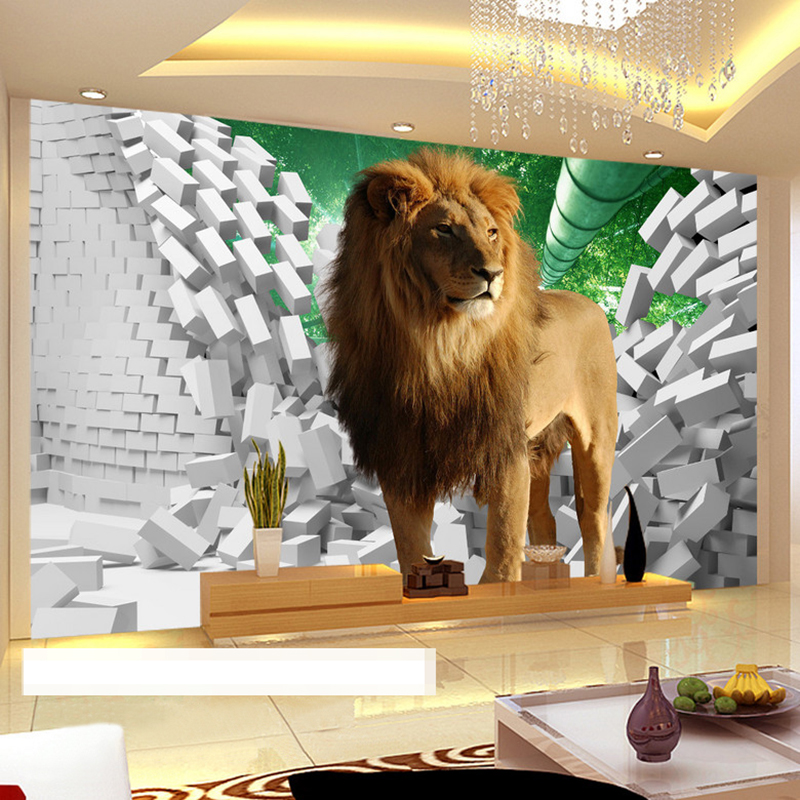 Custom Photo Wallpaper 3D Stereo Lion Broken Wall Creative Space Wall Decorations Living Room Kids Room Bedroom Large Murals 3d stereo window planet earth from outer space background 3d wallpaper murals living room bedroom study paper 3d wallpaper