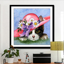 Full Square 5D DIY Diamond Painting Cartoon Animal Cat Flowers Hat Cross stitch Colorful  Embroidery Decoration